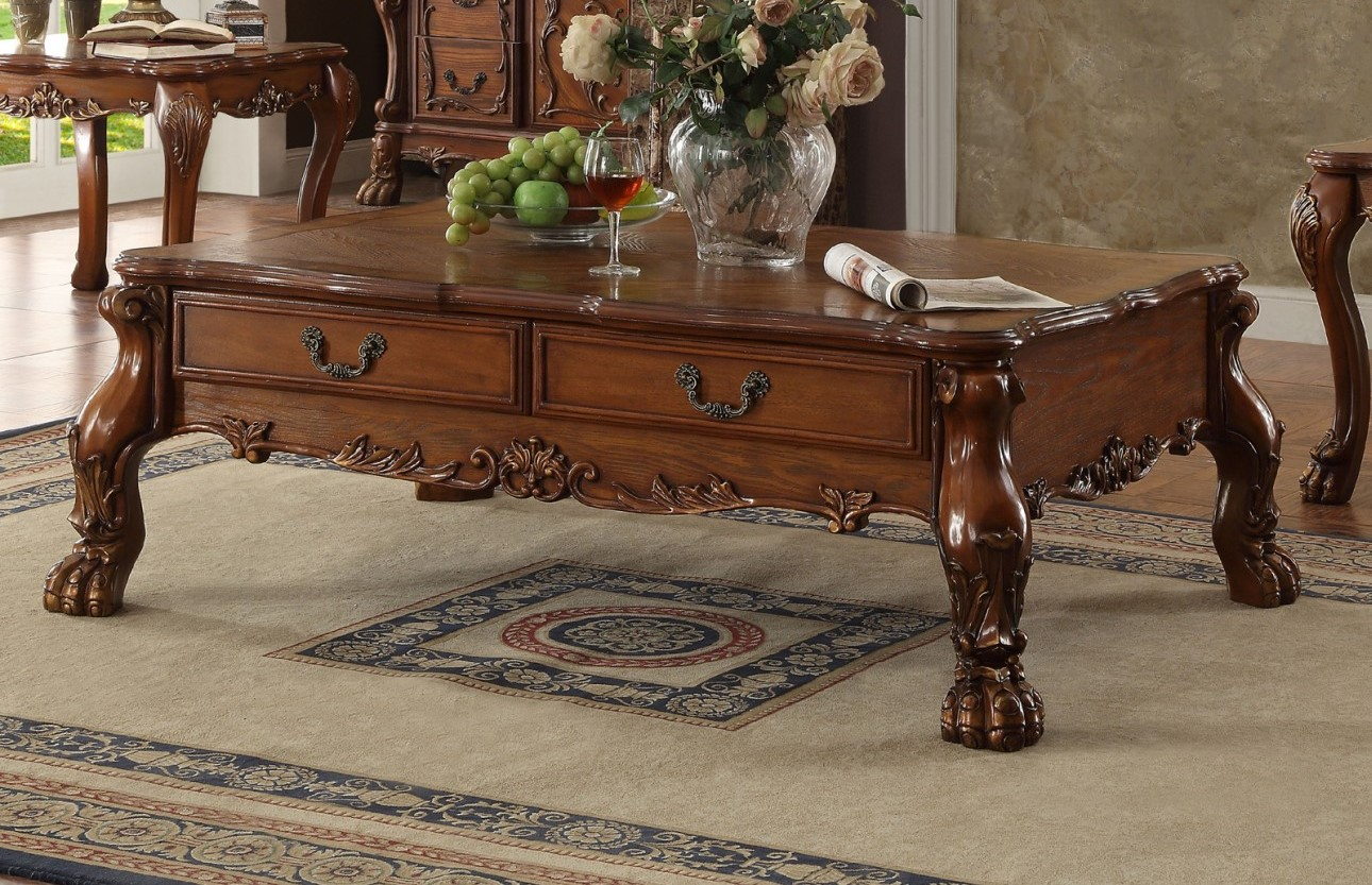 dresden traditional 2 drawer ornate coffee table in antique cherry oak. Black Bedroom Furniture Sets. Home Design Ideas