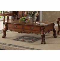 Dresden Traditional 2-drawer Ornate Coffee Table In Antique Cherry Oak