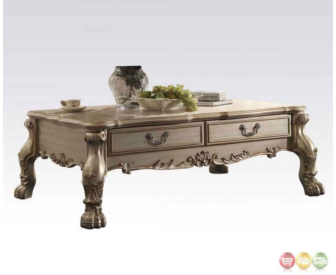 dresden traditional 2 drawer ornate coffee table in antique gold patina. Black Bedroom Furniture Sets. Home Design Ideas