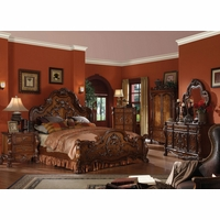 Dresden Traditional Luxury 4pc Queen Bedroom Set In Antique Cherry Oak