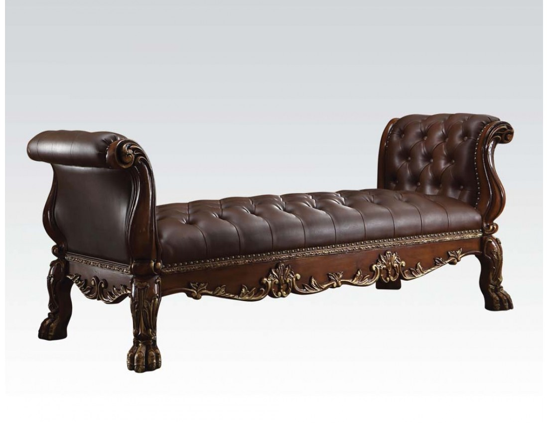 Dresden Traditional Bench With Faux Leather Upholstery In Cherry Oak
