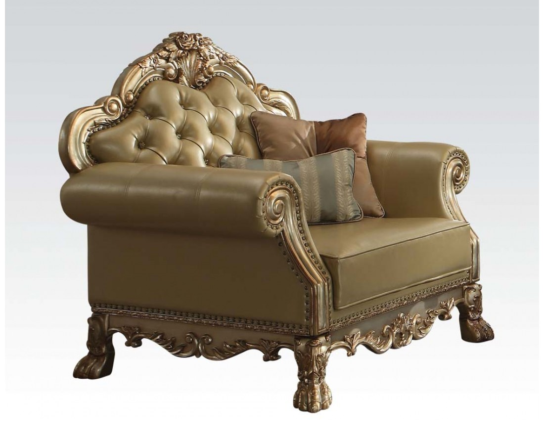 Dresden Traditional Bone Faux Leather Chair With Gold