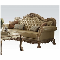 Dresden Traditional Bone Faux Leather Sofa With Gold Patina Accents