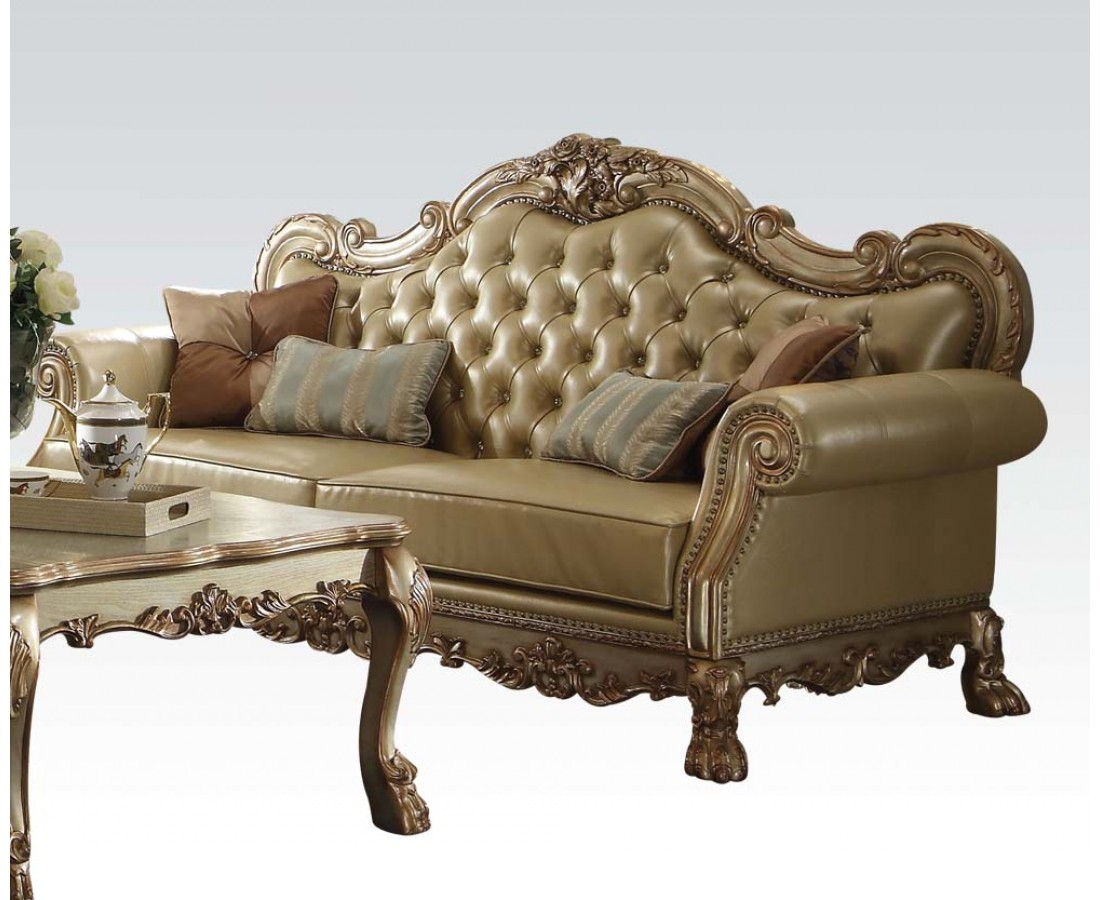 Dresden traditional bone faux leather sofa loveseat in for Traditional loveseat