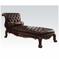 Dresden Traditional Button Tufted Dark Brown Chaise In Cherry Oak