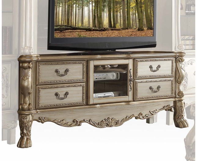 Dresden Traditional Carved Wood Tv Stand In Antique Gold Patina