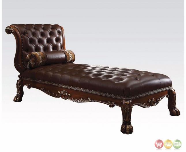 Dresden traditional button tufted dark brown chaise in for Button tufted chaise lounge