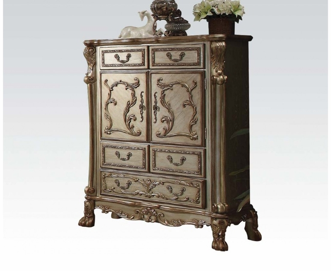 Dresden Traditional Luxury 2-door Ornate Chest In Gold Patina