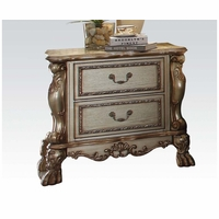 Dresden Traditional Luxury 2-drawer Ornate Nightstand In Gold Patina