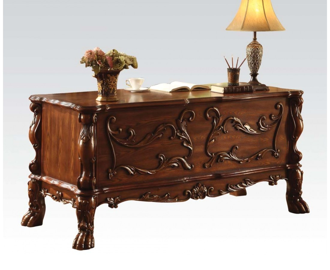 Warm Cherry Executive Desk Home Office Collection: Dresden Traditional Luxury 5-drawer Executive Desk In Rich