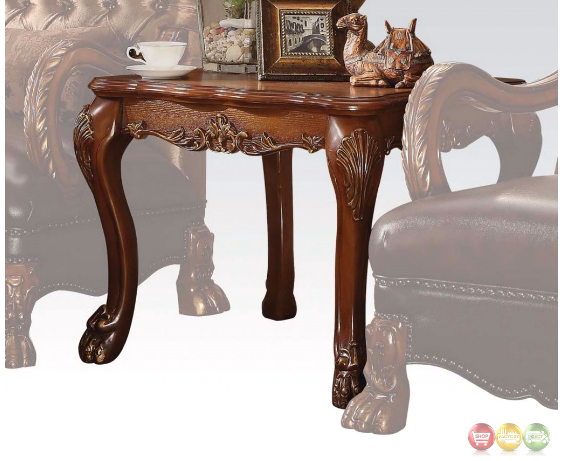 dresden traditional ornate end table in antique cherry oak. Black Bedroom Furniture Sets. Home Design Ideas