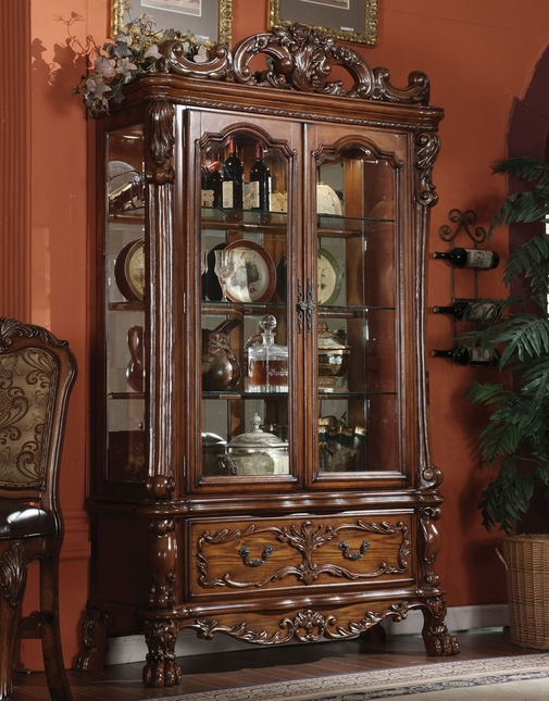 Ornate Curio Cabinet In Antique Cherry Oak