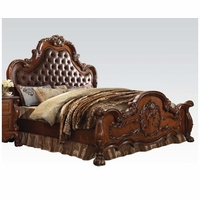 Dresden Traditional Wood Queen Bed With Upholstered Headboard In Cherry Oak