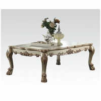 Dresden Traditional Wood Top Ornate Coffee Table In Antique Gold Patina