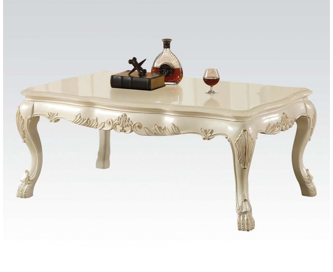 dresden traditional wood top ornate coffee table in antique pearl white. Black Bedroom Furniture Sets. Home Design Ideas