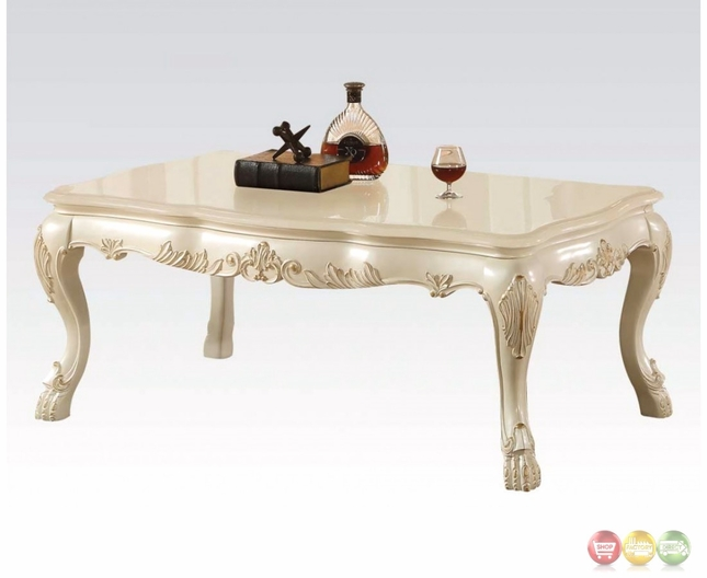 Dresden Traditional Wood Top Ornate Coffee Table In Antique Pearl White
