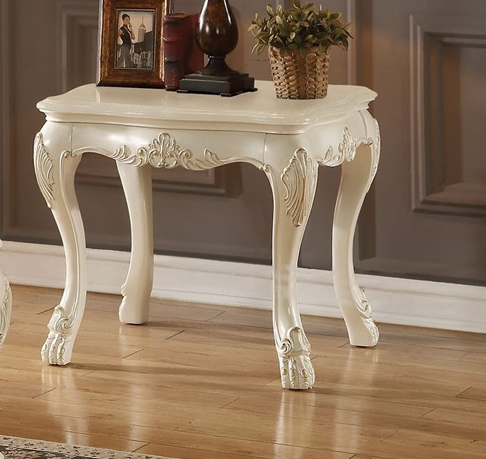 Dresden Traditional Wood Top Ornate End Table In Antique