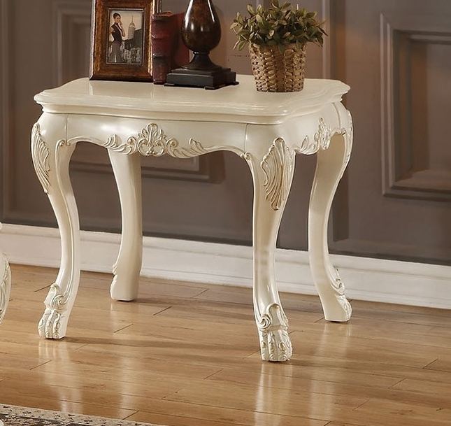 Dresden Traditional Wood Top Ornate End Table In Antique Pearl White