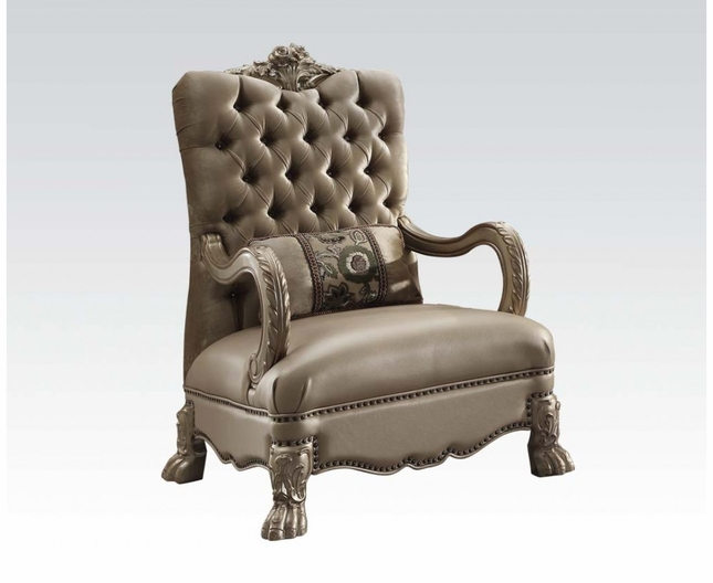 Dresden Victorian Tufted Chair In Champagne Velvet U0026 Gold Patina Carved Wood