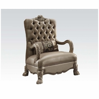 Dresden Victorian Tufted Chair In Champagne Velvet & Gold Patina Carved Wood