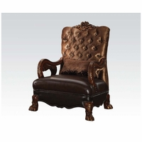 Dresden Victorian Tufted Chair In Gold Velvet & Cherry Finished Carved Wood