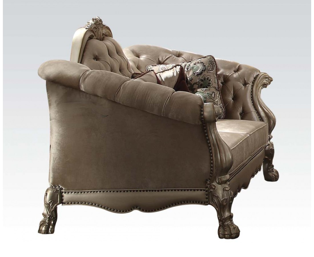 Dresden Victorian Tufted Loveseat In Champagne Velvet Gold Patina Carved Wood