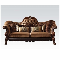 Dresden Victorian Tufted Sofa In Gold Velvet & Cherry Finished Carved Wood
