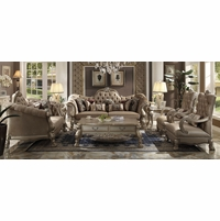 Dresden Victorian Tufted Sofa & Loveseat In Champagne Velvet & Gold Patina