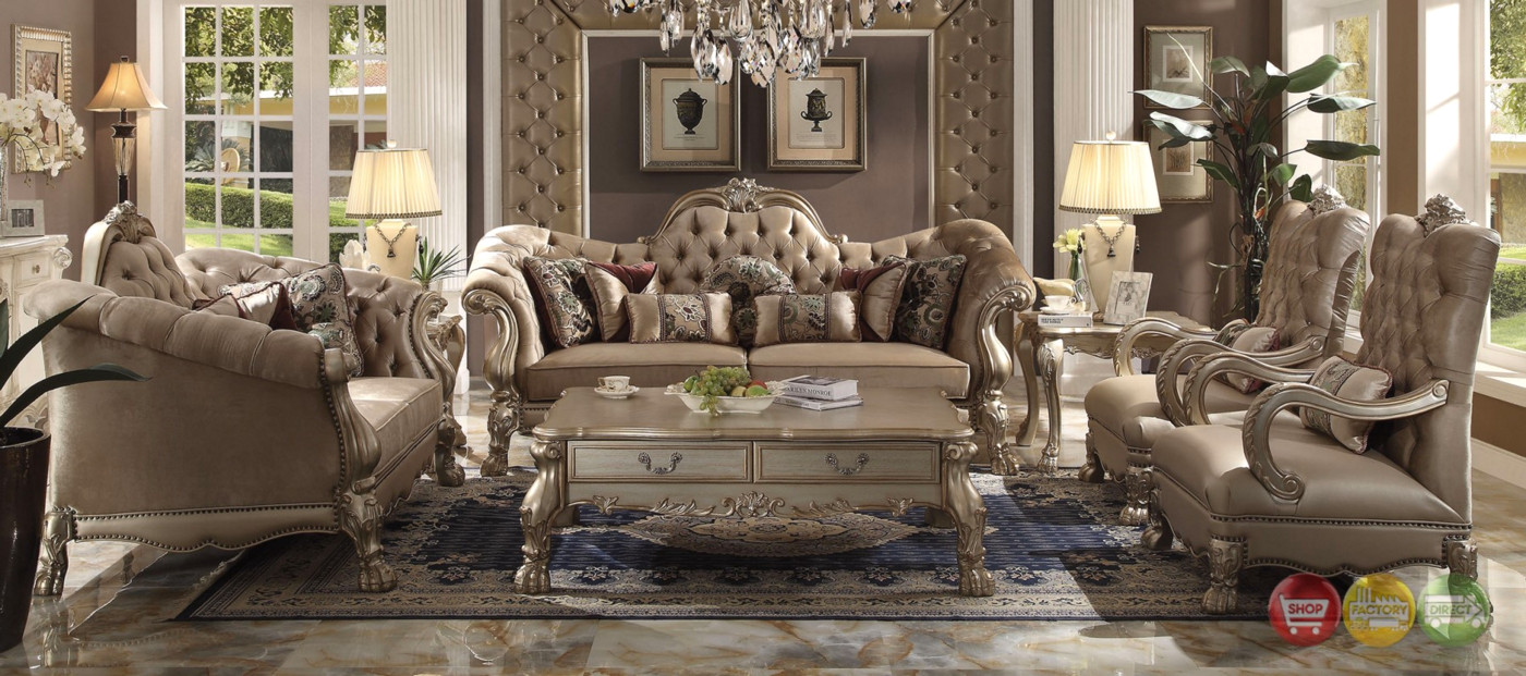 Dresden victorian tufted sofa loveseat in champagne for Sofa 9 dresden