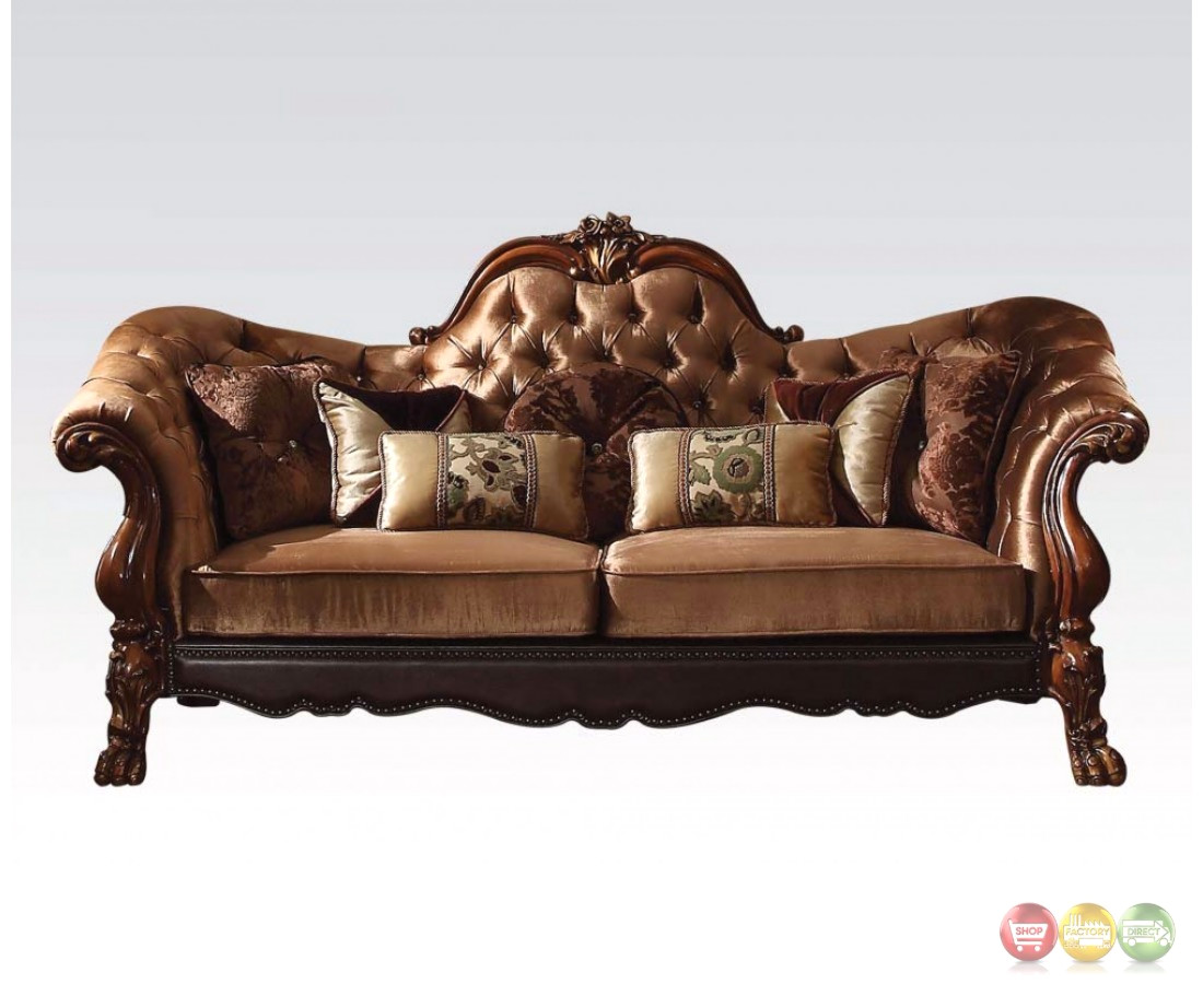 Dresden Victorian Tufted Sofa Loveseat In Gold Velvet