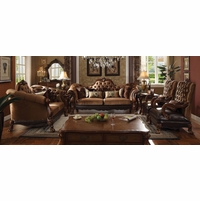 Dresden Victorian Tufted Sofa & Loveseat In Gold Velvet & Cherry Oak