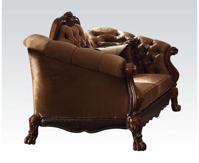 Dresden Victorian Tufted Loveseat In Gold Velvet Cherry Finished Carved Wood