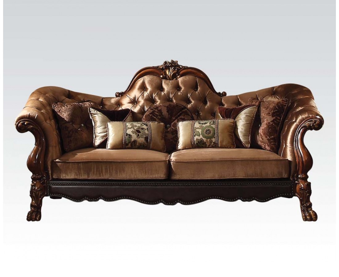 Dresden Victorian Tufted Sofa Loveseat In Gold Velvet Cherry Oak