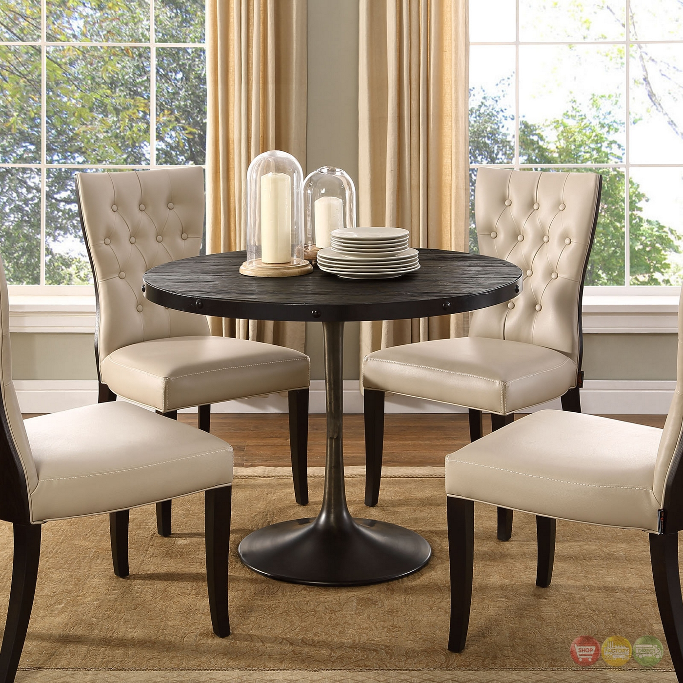 drive rustic 40 round wood top dining table with cast iron base black. Black Bedroom Furniture Sets. Home Design Ideas