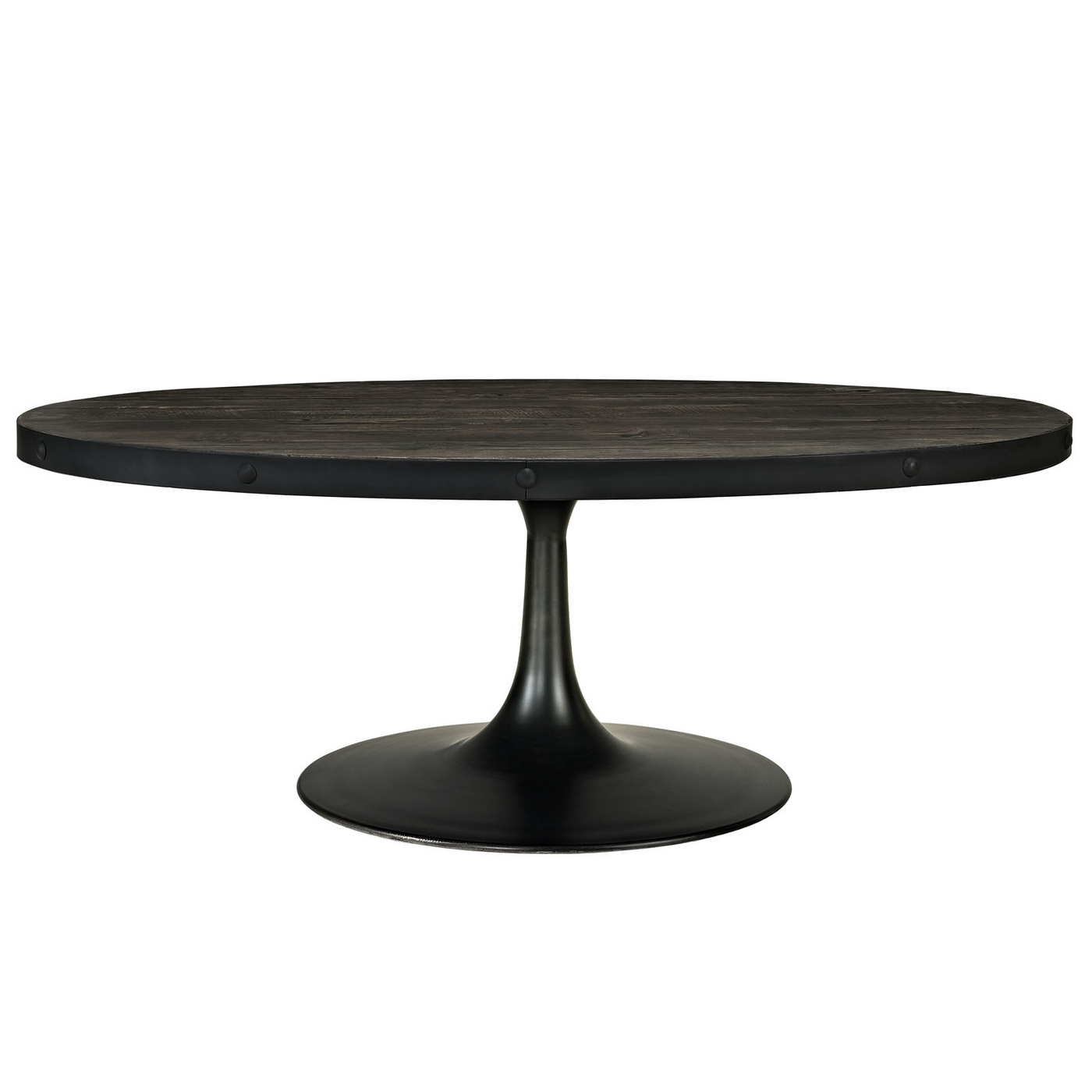 Drive Industrial Modern Round Wood Top Coffee Table W Cast Iron Pedestal Black