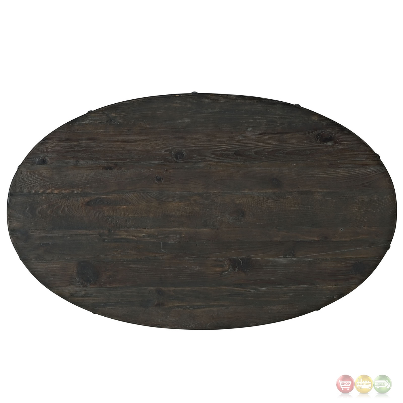 Industrial Round Coffee Table With Dark Wood Top And Steel: Drive Industrial Modern Round Wood Top Coffee Table W
