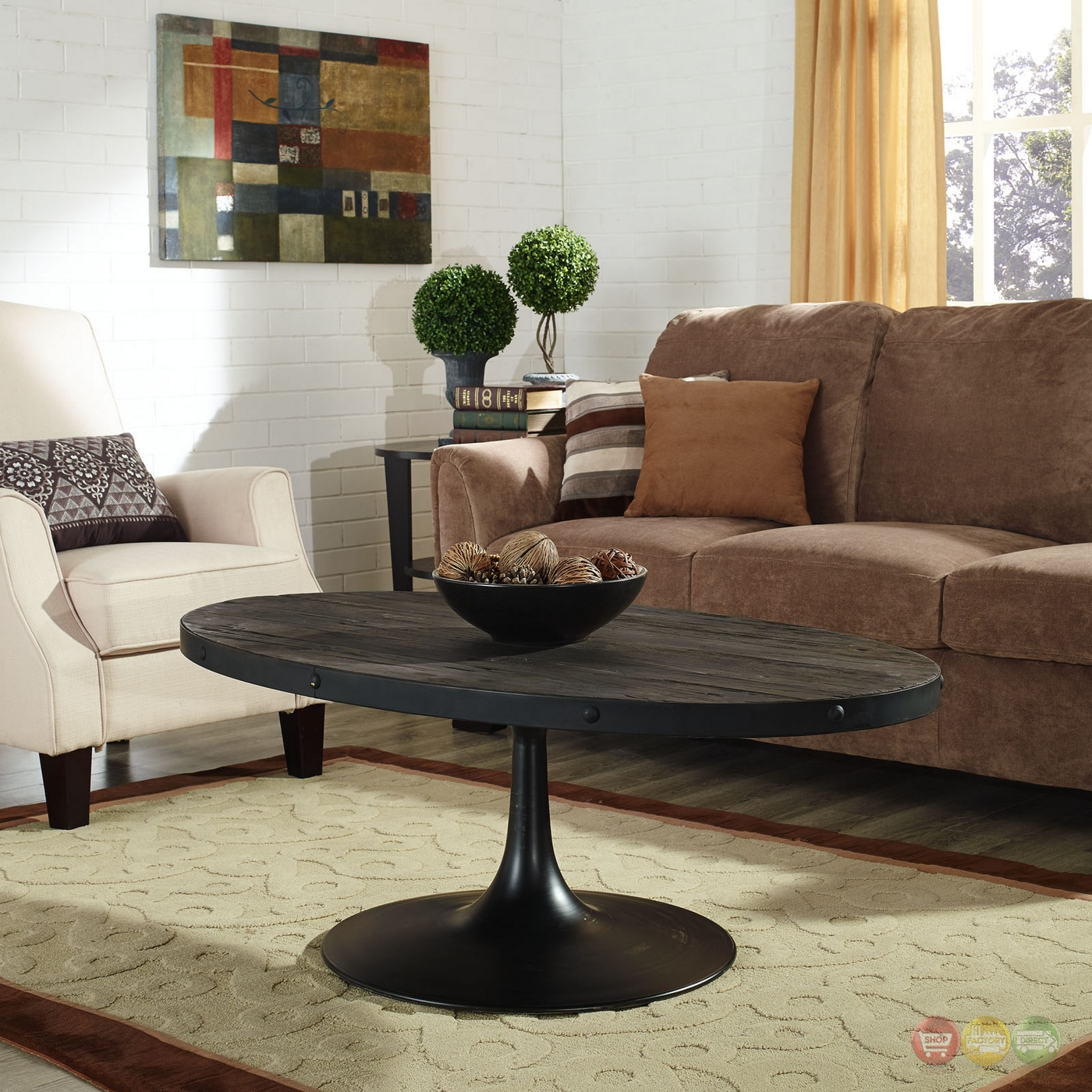 Round Glass Pedestal Coffee Table: Drive Industrial Modern Round Wood Top Coffee Table W