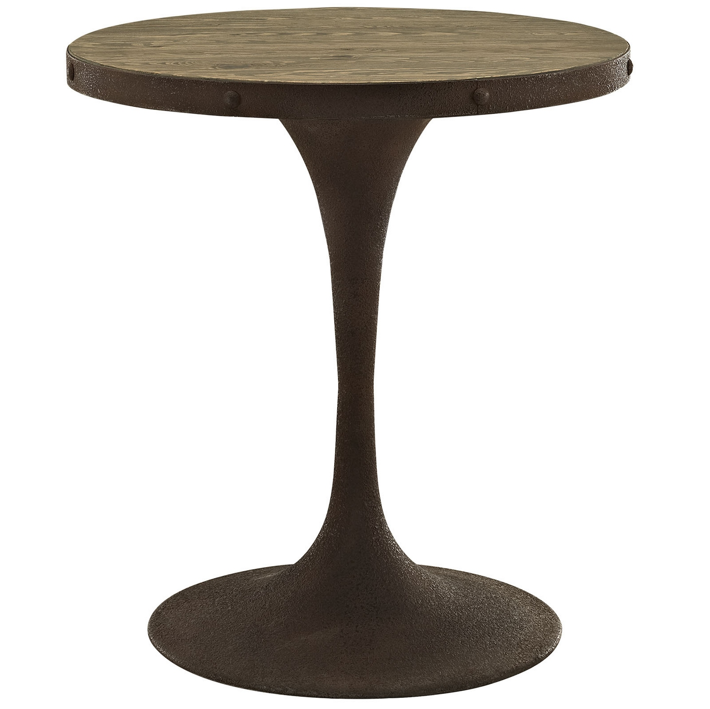 Drive rustic 28 round wood top dining table w iron pedestal base brown ebay - Pedestal base for dining table ...