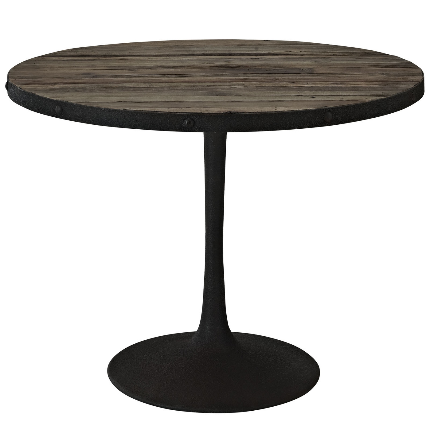 drive rustic 40 round wood top dining table with cast iron base brown. Black Bedroom Furniture Sets. Home Design Ideas