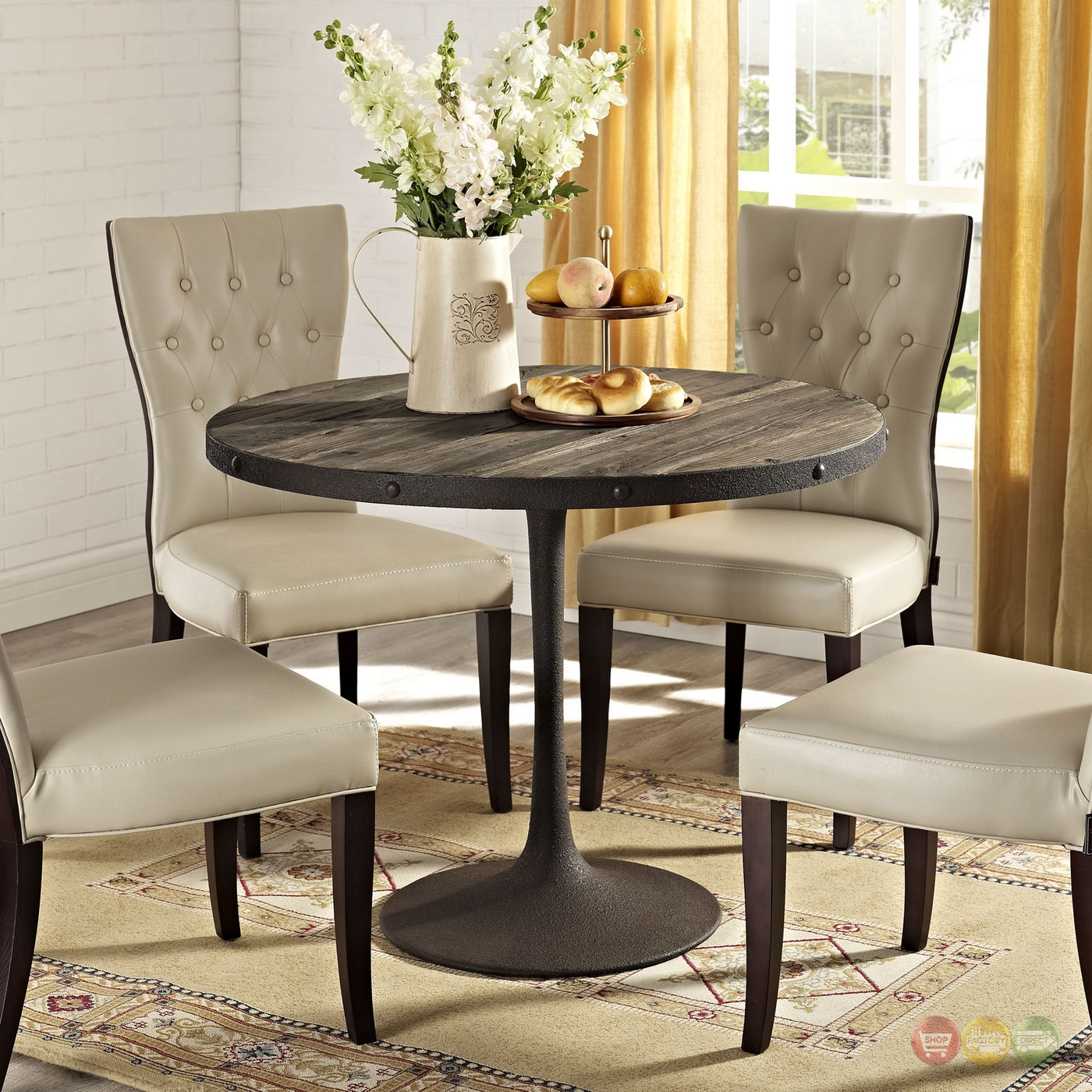 Drive Rustic 40 Quot Round Wood Top Dining Table With Cast