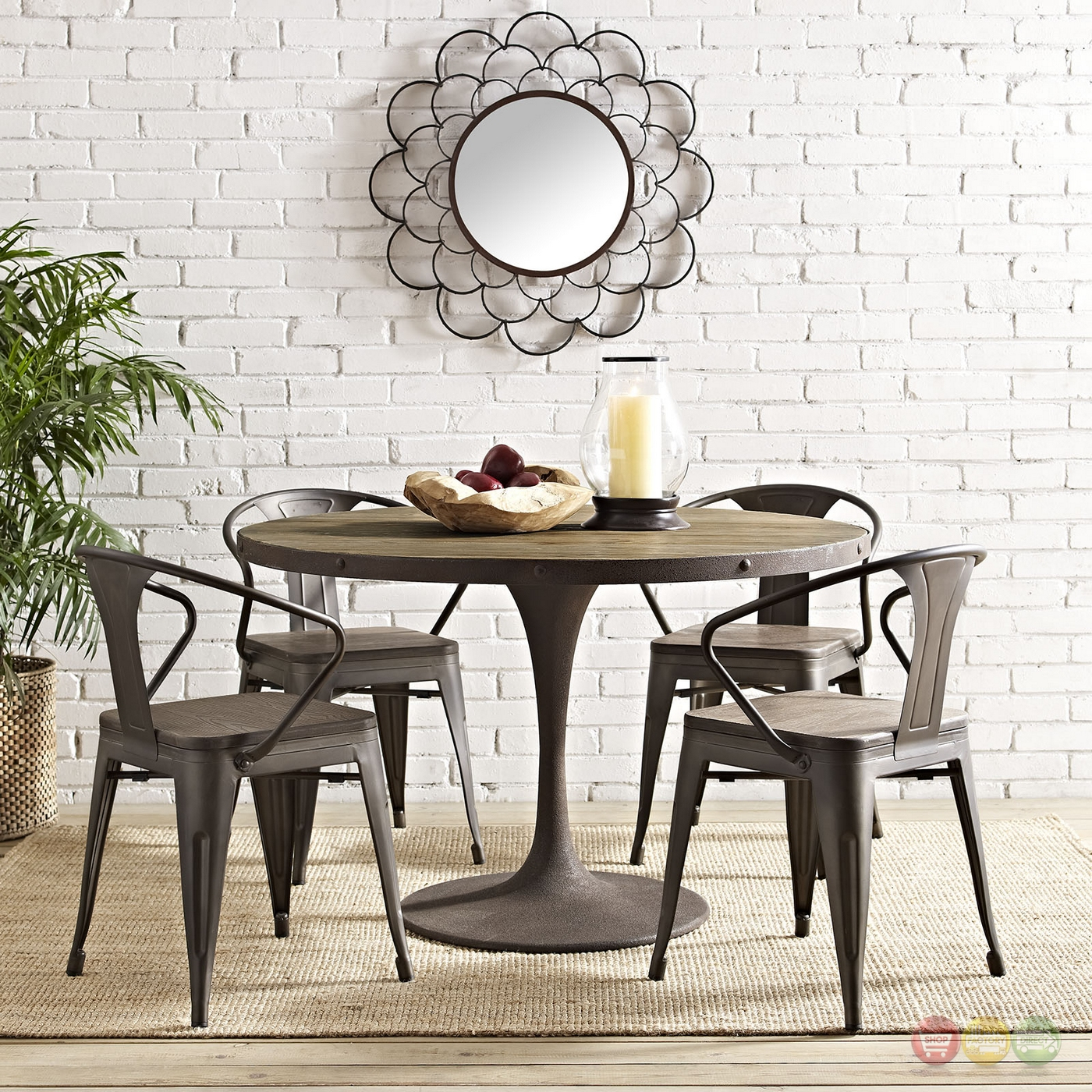 drive rustic 48 round wood top dining table w iron. Black Bedroom Furniture Sets. Home Design Ideas