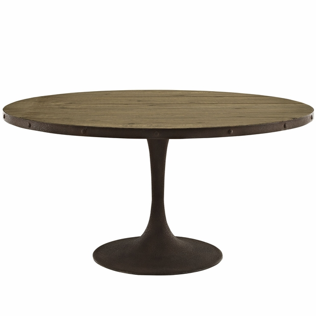"""Drive Rustic 60"""" Round Wood Top Dining Table w/ Iron Pedestal Base, Brown"""