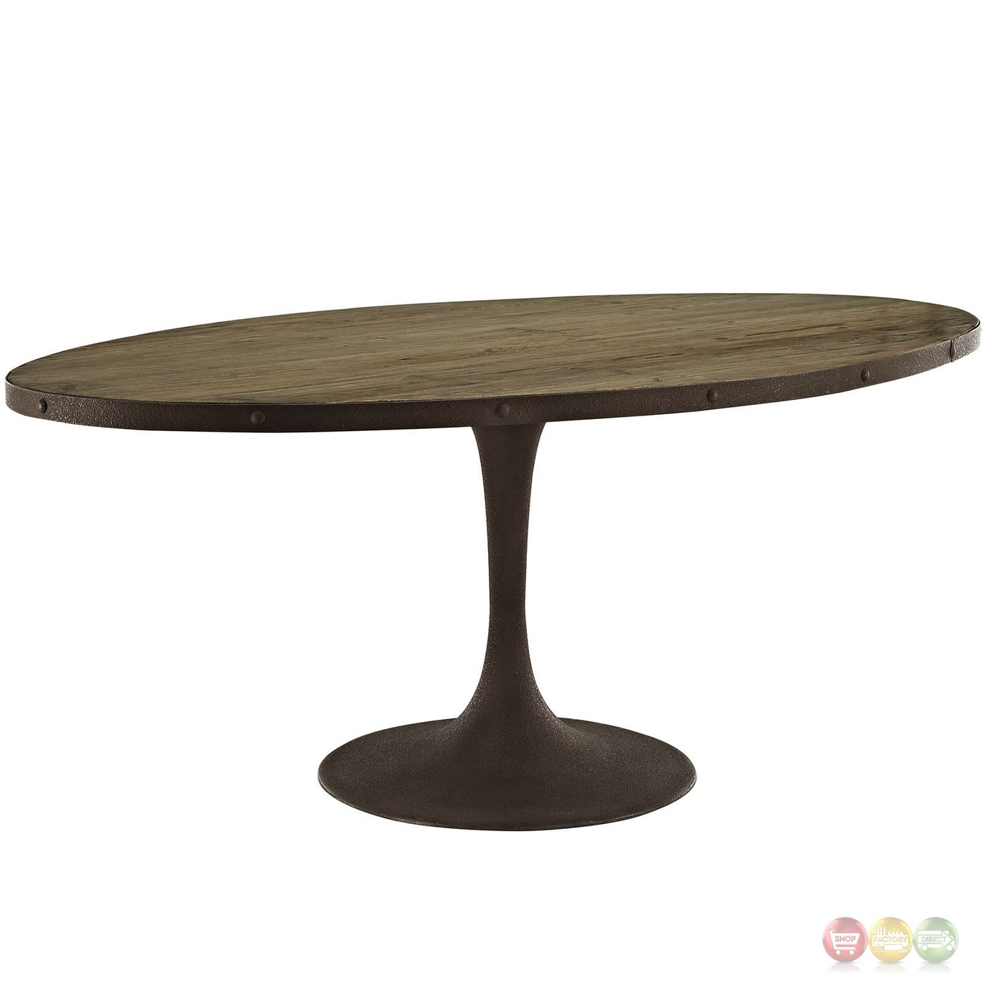 Drive Rustic 78 Quot Oval Wood Top Dining Table W Iron