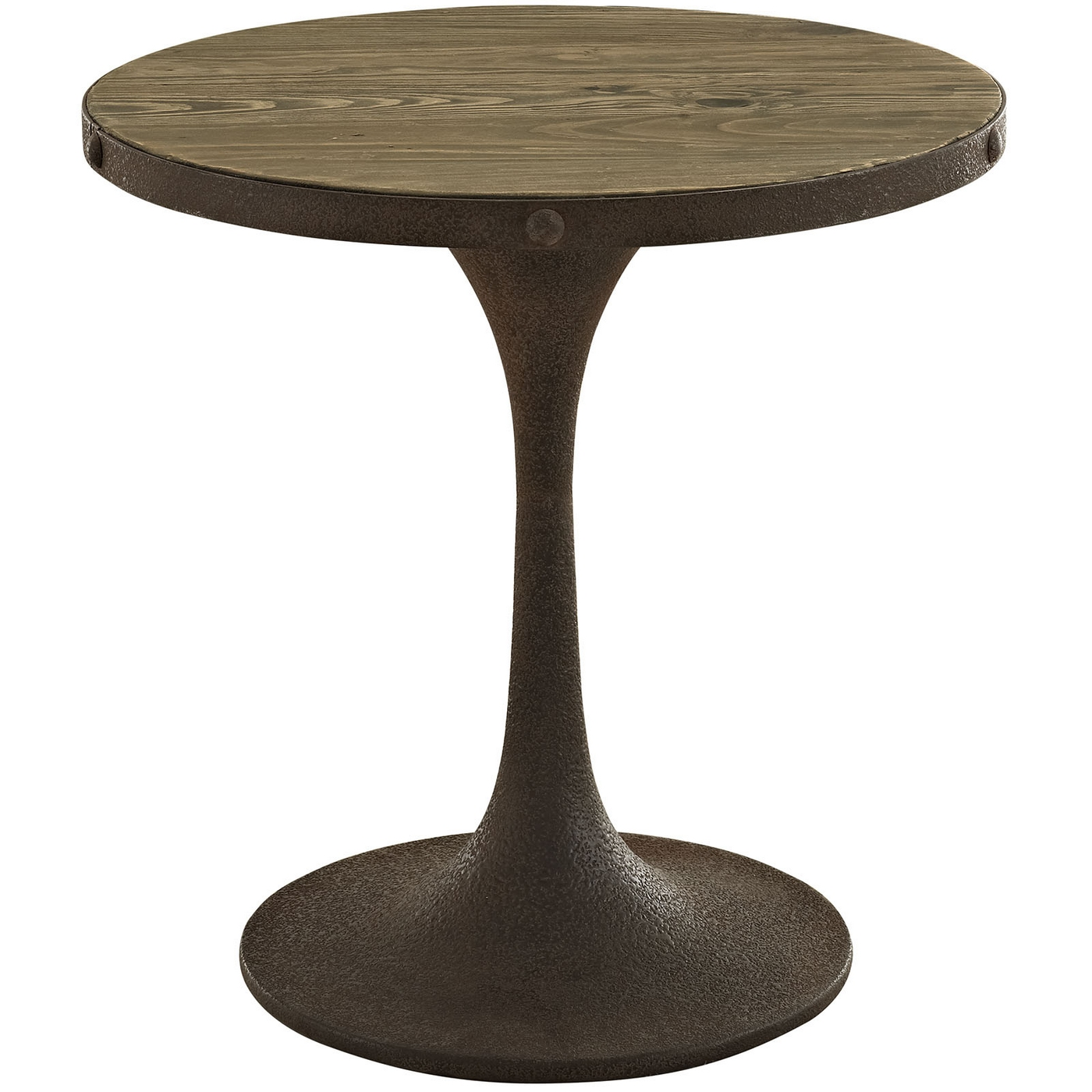Drive rustic round wood top side table w iron pedestal for Side table base