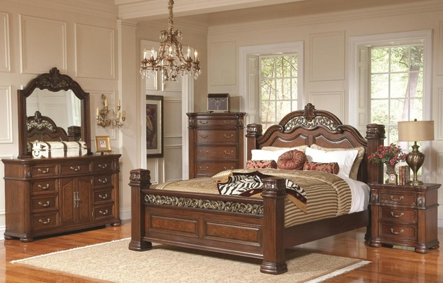 Dubarry Traditional Bedroom Set in Brown w/ Pillar Posts, Coaster ...