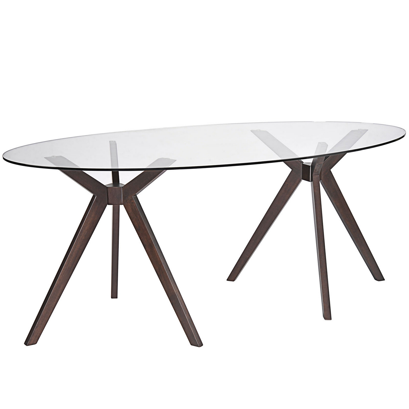 Duet Modern 79 Glass Top Dining Table With Double Tripod Wood Base Walnut