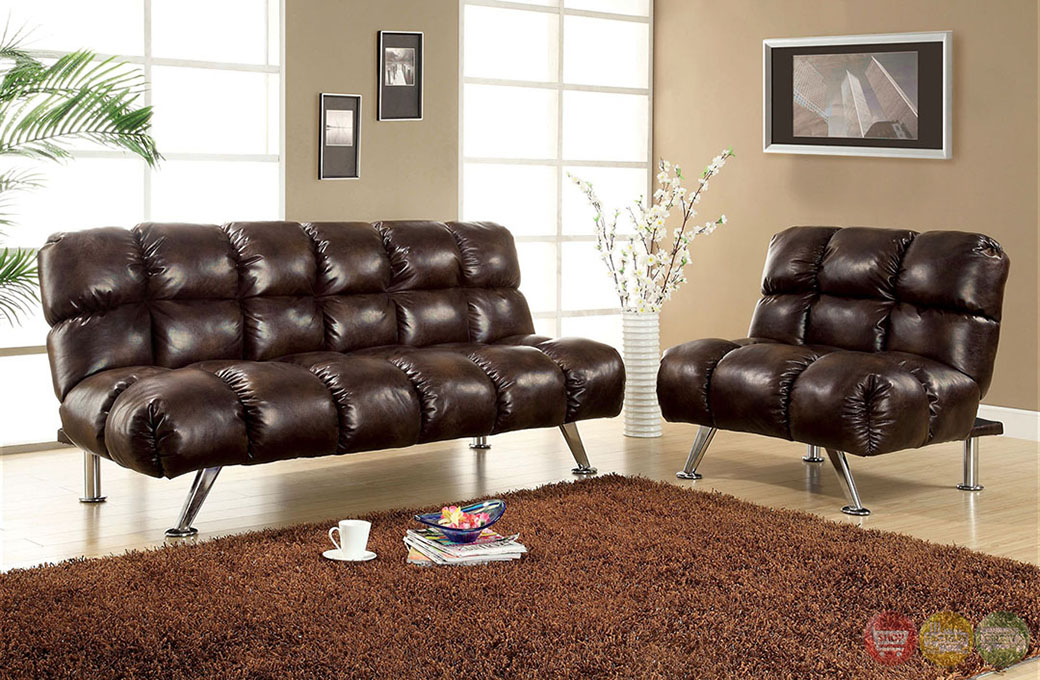 Duncan Contemporary Dark Brown Sofa Set With Leather Like