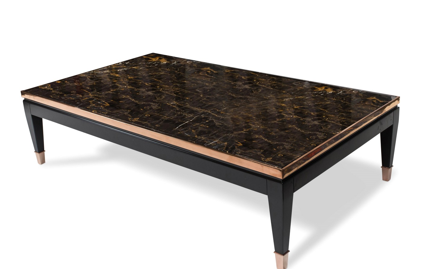 durango luxury tri color coffee table w marble top and rose gold trim. Black Bedroom Furniture Sets. Home Design Ideas