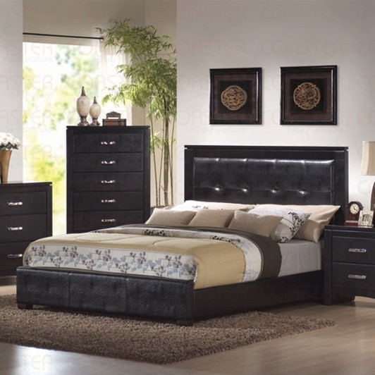 Dylan Black Vinyl Headboard King Size Bed Coaster 201401KE
