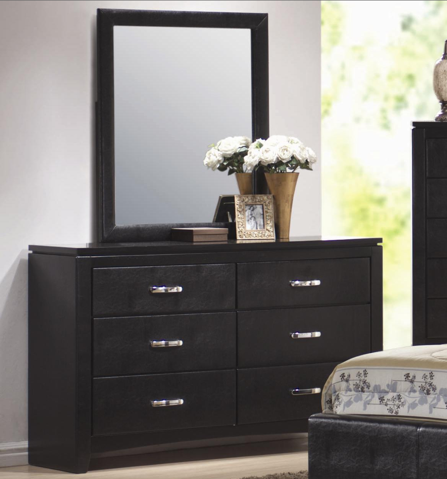 Dylan Black Vinyl Six Drawer Dresser 201403 201404 Coaster